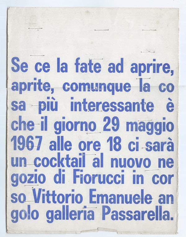 Amalia Del Ponte, Invito per l'inaugurazione, 1967