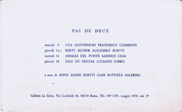 Pas de deux, invito della mostra alla Galleria La Salita, Roma (1978)