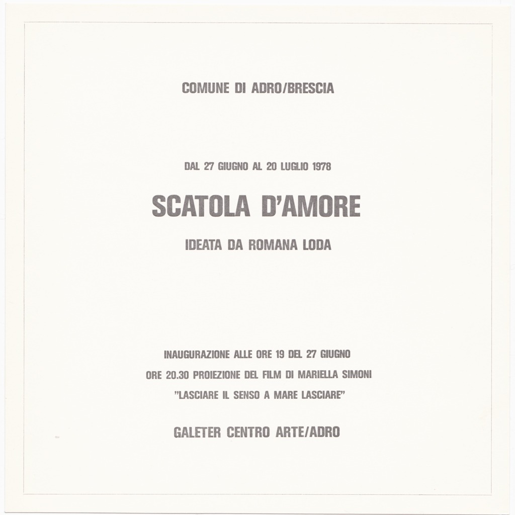 Scatola d'amore, 1978, Galeter Centro Arte di Adro (BS)