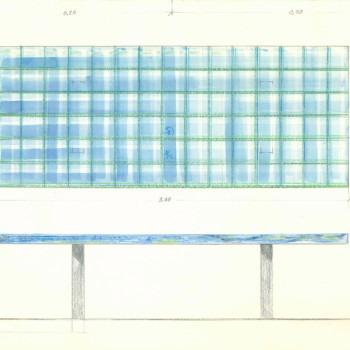 Amalia Del Ponte, Tavolo di marmo ad intarsio (azzurro bahia, verde aver, bianco carrara), disegno