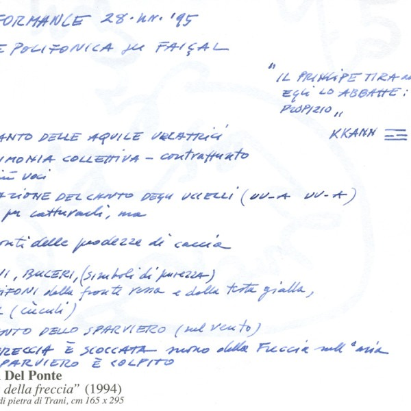 Amalia Del Ponte 1995 Aria della freccia appunti performance Fondazione Mudima Milano